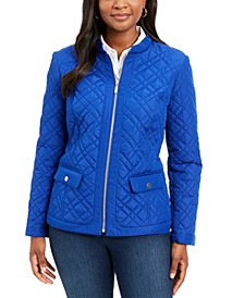 Quilted Mandarin-Collar Jacket, Created for Macy's