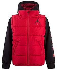 Toddler Boys Layered-Look Hooded Puffer Jacket