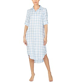 Women's Collared Plaid Sleepshirt