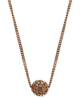 "Image of Givenchy 16"" Necklace, Rose Gold-Tone Crystal Fireball Pendant Necklace"