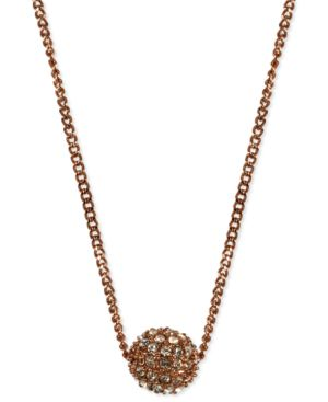 """16"""" Necklace, Rose Gold-Tone Crystal Fireball Pendant Necklace"""