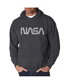 Men's Word Art Hooded Sweatshirt - Worm Nasa
