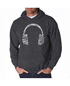 Men's Word Art Hoodie - Headphones - Music In Different Languages