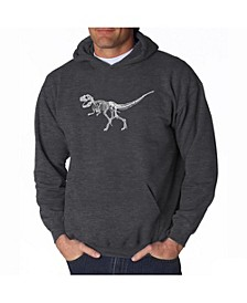 Men's Word Art Hooded Sweatshirt - Dinosaur T-Rex Skeleton
