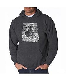 Men's Word Art Hooded Sweatshirt - Horse Breeds