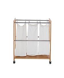 Ecostorage 3 Bag Bamboo Laundry Cart