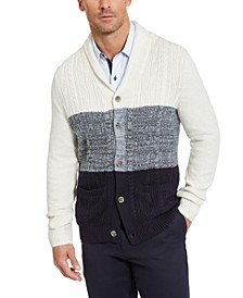 Men's Chunky Cable-Knit Colorblocked Shawl-Collar Cardigan, Created For Macy's