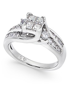 Diamond Quad Cluster Channel-Set Engagement Ring (1 ct. t.w.) in 14k White Gold