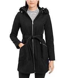 Faux-Fur-Trim Hooded Coat