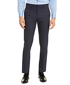 Men's Skinny-Fit Infinite Stretch Navy Check Dress Pants