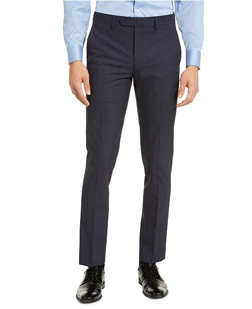 Calvin Klein Men's Skinny-Fit Infinite Stretch Navy Check Dress Pants