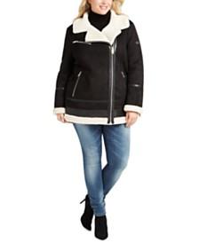 Calvin Klein Plus Size Asymmetrical Faux-Shearling Moto Coat