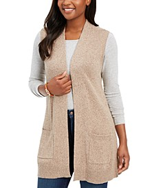 Petite Marled-Knit Sleeveless Vest, Created for Macy's