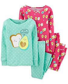 Carter's Toddler Girls 4-Pc. Cotton Avocado Toast Pajamas Set