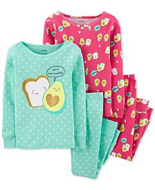 Carter's Toddler Girls 4-Pc. Cotton Avocado Toast Pajamas Set