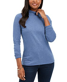 Petite Mock-Neck Long-Sleeve Top, Created for Macy's