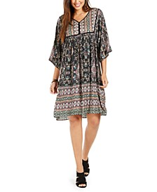 Printed Elbow-Sleeve Peasant Dress, Created for Macy's