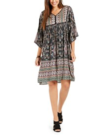 Style & Co Printed Elbow-Sleeve Peasant Dress, Created for Macy's