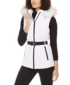 Michael Michael Kors Active Belted Faux-Fur Trim Hooded Vest