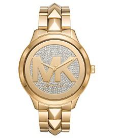 Michael Kors Women's Runway Mercer Gold-Tone Stainless Steel Bracelet Watch 44mm