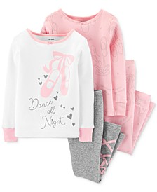 Baby Girls 4-Pc. Cotton Ballerina Pajamas Set