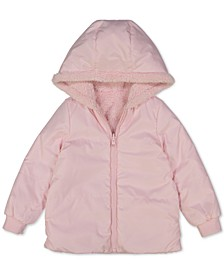Baby Girls Hooded Reversible Faux-Fur Jacket