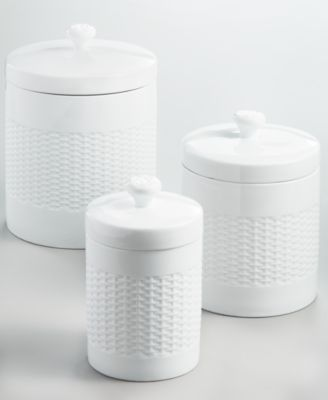 Set of 3 Basketweave Canisters, Created for Macy's