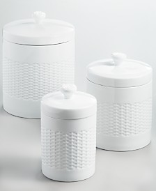 Martha Stewart Collection Set of 3 Basketweave Canisters, Created for Macy's