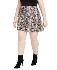 Trendy Plus Size Printed Skater Skirt
