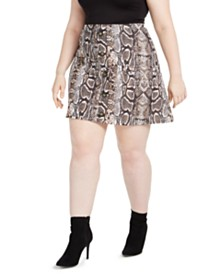 Planet Gold Trendy Plus Size Printed Skater Skirt