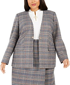 Plus Size Plaid Collarless Blazer