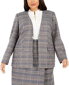 Calvin Klein Plus Size Plaid Collarless Blazer