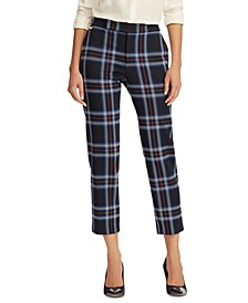 Petite Plaid-Print Ponte Stretch Straight Pants