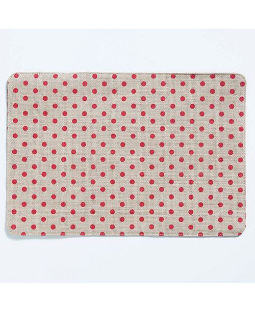 VIETRI Old St Nick Red and Natural Striped/Dot Reversible Placemat