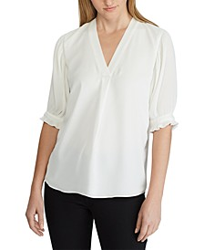 Petite Pleated-Sleeve Georgette Top