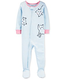 Toddler Girls 1-Pc. Striped Cats Footed Pajamas