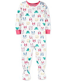 Carter's Baby Girls Cotton Footed Animal Pajamas