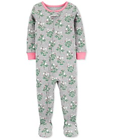 Toddler Girls Cotton Footed Floral Pajamas
