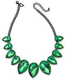 "Hematite-Tone Crystal Teardrop Frontal Necklace, 18"" + 3"" extender"