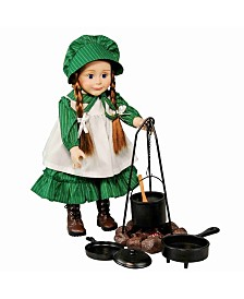 "Little House on the Prairie 18"" Doll Accessory, Camp Cooking Set Fire Ring, Cauldron, Tripod, 2 Pans, Spoon"