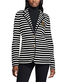 Petite Stripe-Print Stretch Sweater Blazer