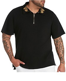 MVP Collections Men's Big & Tall Gold Embroidered-Collar Zipper Polo Shirt