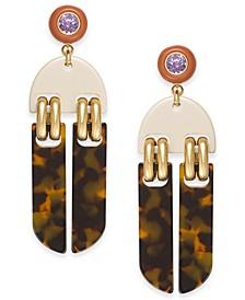 Gold-Tone Crystal & Tortoise-Look Statement Earrings