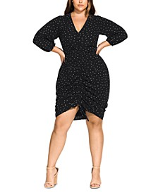 Trendy Plus Size Ruched Dot-Print Dress