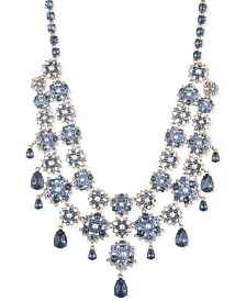 """Marchesa Gold-Tone Crystal & Imitation Pearl Cluster Statement Necklace, 16"""" + 3"""" extender"""