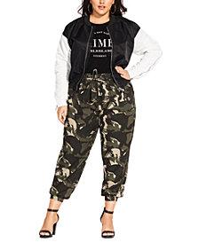 City Chic Trendy Plus Size Blanc Noir Bomber Jacket