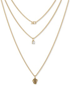 """Gold-Tone XO, Leopard & Crystal Layered Pendant Necklace, 16"""" + 2"""" extender"""