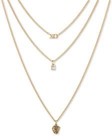 """RACHEL Rachel Roy Gold-Tone XO, Leopard & Crystal Layered Pendant Necklace, 16"""" + 2"""" extender"""