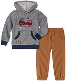 Little Boys 2-Pc. Firetruck Stripe French Terry Hoodie & Khaki Twill Joggers Set