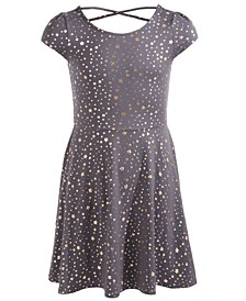 Big Girls Metallic Star-Print Dress, Created For Macy's